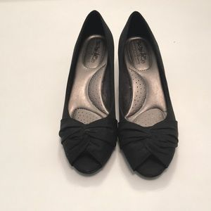 Black Coach and Four Peep Toe Kitten Heels
